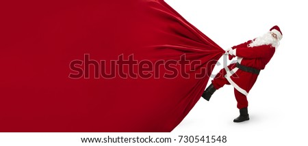 Santa Claus pulling huge bag of gifts that can be easily changed into a banner isolated on white background with copy space Royalty-Free Stock Photo #730541548