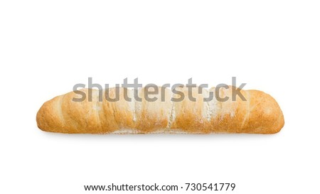 Long loaf of bread on a white background #730541779