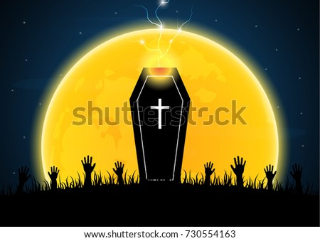 Halloween festival and celebration abstract background, coffin or casket with moon, graveyard, thunderbolt or lightning, zombie hand and copy space, vector illustration. #730554163