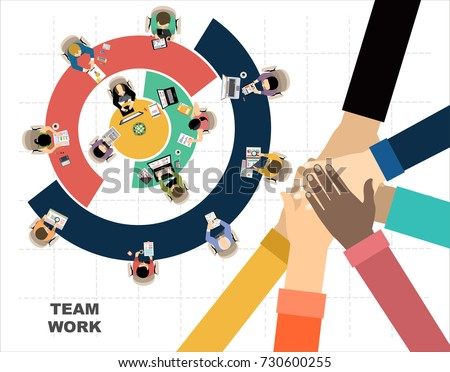 Flat design illustration concepts for business analysis and planning, consulting, team work, project management. Business, team work, cooperation and partnership.  Royalty-Free Stock Photo #730600255