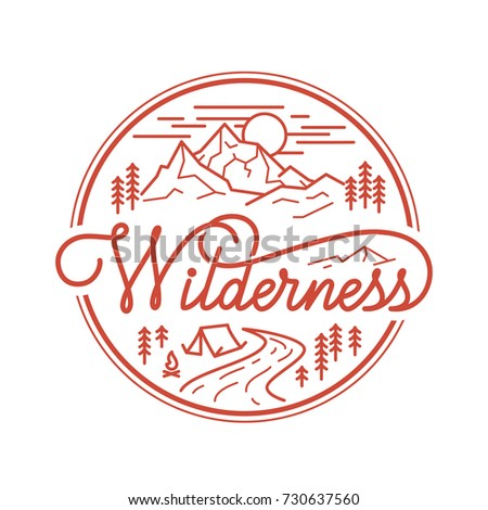 Wilderness. Mountains vector illustration,  typography poster. Template for greeting cards, and t-shirts printing. Royalty-Free Stock Photo #730637560