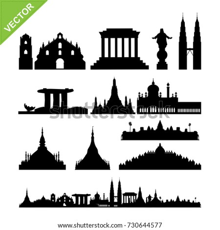 Southeast Asia cities landmark and skyline silhouettes vector #730644577