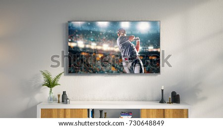 3D illustration of a living room led tv on white wall with wooden table and plant in pot showing baseball game moment . #730648849
