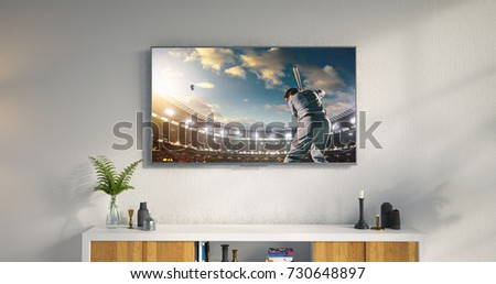 3D illustration of a living room led tv on white wall with wooden table and plant in pot showing baseball game moment . #730648897