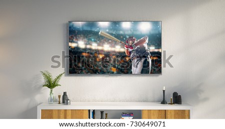 3D illustration of a living room led tv on white wall with wooden table and plant in pot showing baseball game moment . #730649071