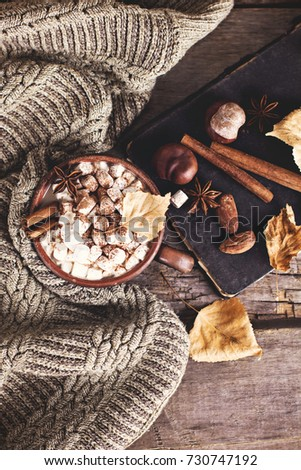 Hot cocoa with marshmallows with spices on the old wooden boards. Coffee, cocoa, cinnamon, nuts, star anise, cozy sweater Autumn Still Life #730747192