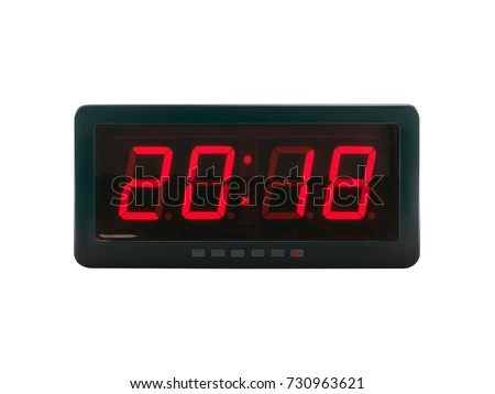 close up red led light illumination numbers 2018 on black digital electric alarm clock face isolated on white background, time symbol concept for celebrating the New Year #730963621