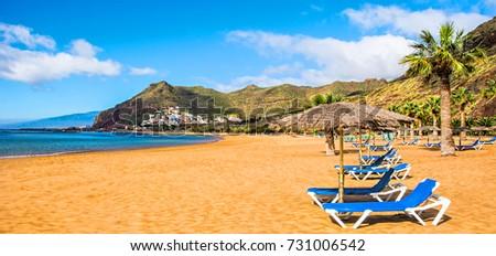 Canary Islands, Tenerife. Beach las Teresitas with yellow sand. Canary Islands Royalty-Free Stock Photo #731006542