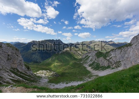 Green Mountain landscape with blue sky and beautiful white soft cloud on a sunny day #731022886