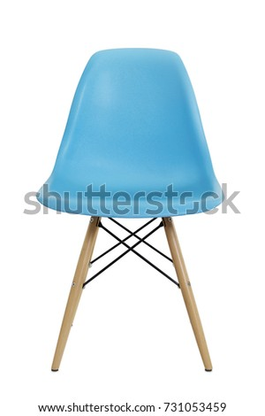 Front view of blue plastic chair isolated on white #731053459