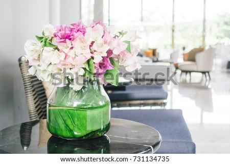 Flower vase on table decoration #731134735