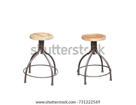 Set of wooden chairs and round tables isolated on white background. Furniture elements in flat style design.clipping path #731222569