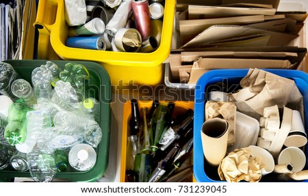 Trash for recycle and reduce ecology environment Royalty-Free Stock Photo #731239045