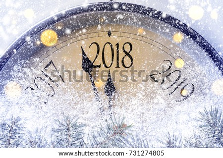 Countdown to midnight. Retro style clock counting last moments before Christmas or New Year 2018. #731274805