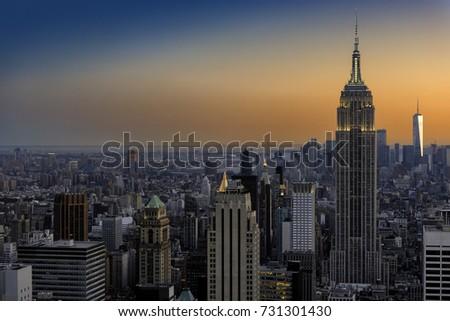 New York City skyline at sunset. #731301430