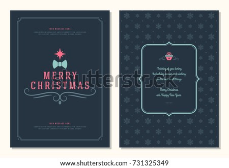 Christmas greeting card design template. Merry Christmas and holidays wishes retro typographic label and place for text. Vector illustration. #731325349