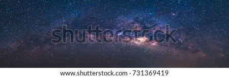 Panorama view universe space shot of milky way galaxy with stars on a night sky background.The Milky Way is the galaxy that contains our Solar System. Royalty-Free Stock Photo #731369419