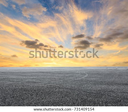 Asphalt road circuit and sky sunset with car tire brake #731409154