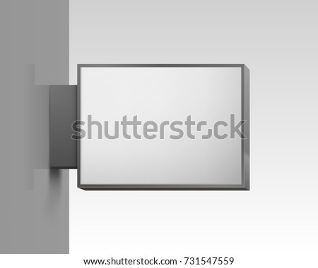 White square signboard on white background. Vector illustration