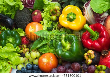 Tropical fresh fruits and vegetables organic after washed, Arrangement different vegetables organic for eating healthy and dieting #731600101