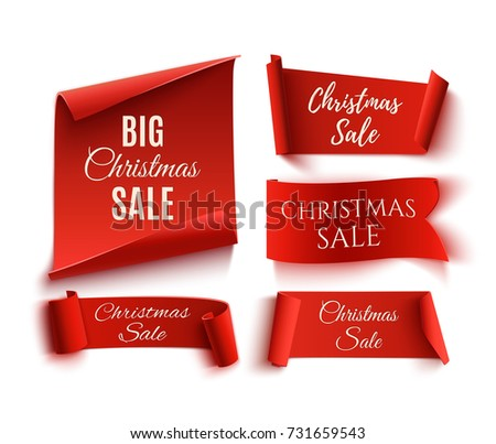 Set of five red, Christmas Sale, realistic, paper banners. #731659543