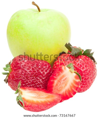 green apple and red strawberry isolated on white background #73167667