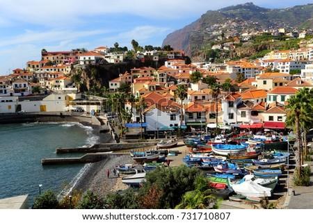 fishing village of Camara dos Lobos Portugal #731710807