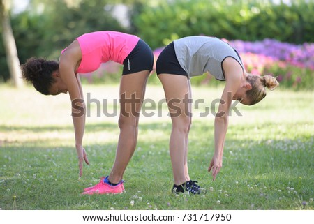 women doing stretching #731717950