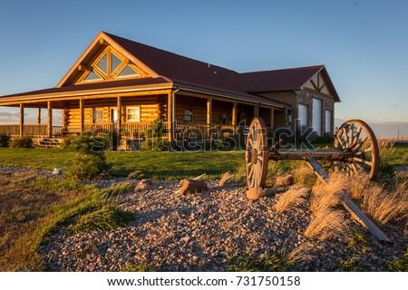 Laramie, Wyoming Ranch Sunset Royalty-Free Stock Photo #731750158