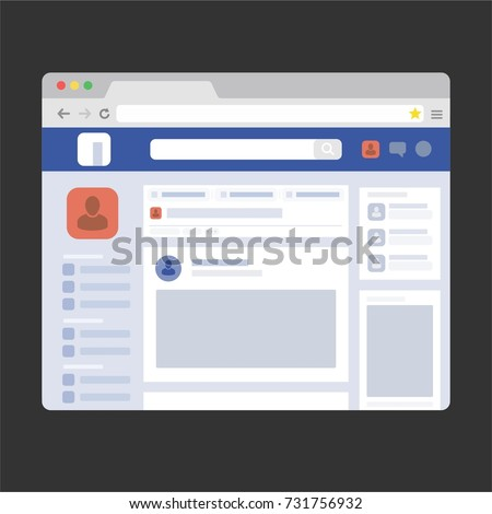 facebook web page browser, concept of Social Page Interface on the laptop, social media vector illustration