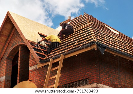 Roofing Contractors Installing House Roof Board for Asphalt Shingles. Roofing Contractor. Roofing Construction. Roof Repair. Royalty-Free Stock Photo #731763493