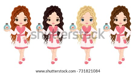 Vector beautiful young  girls taking spa treatment. Vector beautiful girls with various hair colors.  #731821084