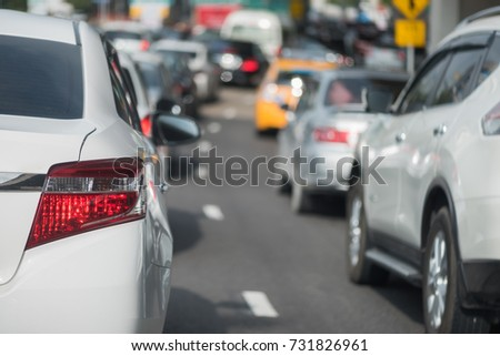 traffic jam with row of cars on toll way, rush hour #731826961