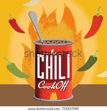 Fully editable vector illustration for a chili cook-off. Perfect for your private event or a corporate setting. Edit text to suit.  Royalty-Free Stock Photo #731837089