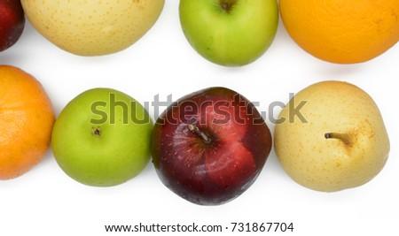 Apple pear Orange isolated on white background #731867704