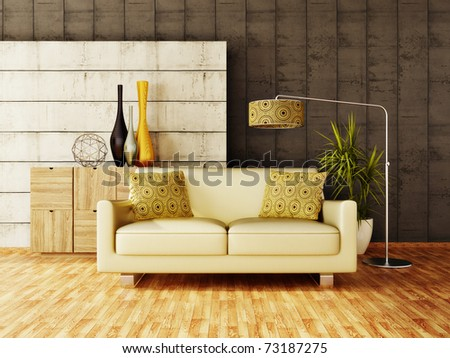 modern interior room with nice furniture inside #73187275