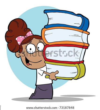 Smart Latina School Girl Carrying A Stack Of Books