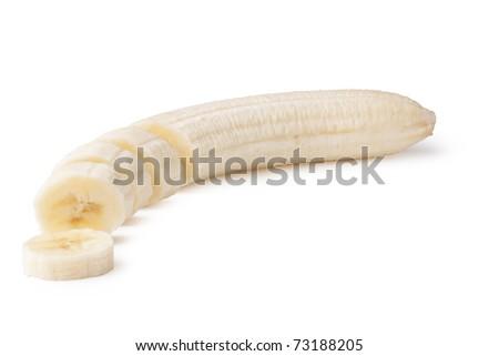 Freshly sliced bananas on a white background #73188205