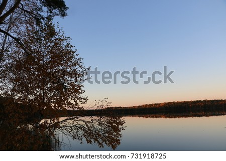 autumn landscape - a reflection of autumn forest in a beautiful lake #731918725