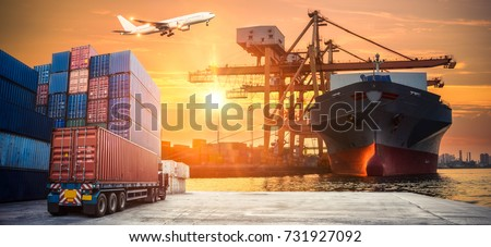 Industrial Container Cargo freight ship for Logistic Import Export concept #731927092