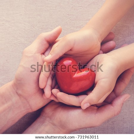 adult and child hands holding red heart, health care love, give, hope and family insurance concept, world heart day #731963011