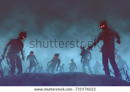 Halloween background.zombie crowd walking at night,for halloween concept,illustration painting And design. #731976022