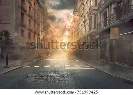 View of destruction city with fires and explosion over dramatic sky background Royalty-Free Stock Photo #731999425