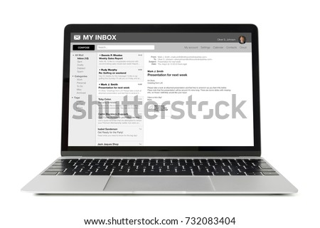 Sample email application interface on laptop computer. All content is made up. #732083404