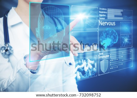 Female doctor hand pressing buttons on glowing digital intefac. Future concept. 3D Rendering  #732098752