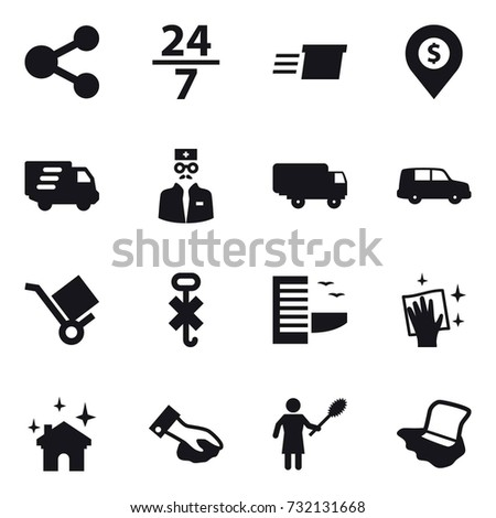 16 vector icon set : share, 24/7, delivery, dollar pin, hotel, wiping, house cleaning, woman with pipidaster, floor washing #732131668