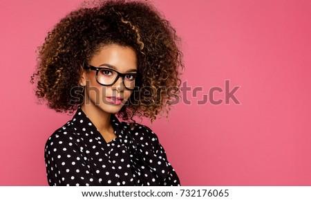 Portrait of the beautiful black woman wear glasses  #732176065