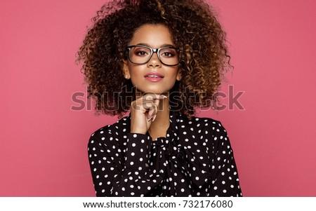 Portrait of the beautiful black woman wear glasses  #732176080