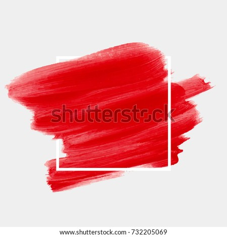 Logo brush painted watercolor abstract background design illustration vector over square frame. Perfect painted design for headline, logo and sale banner.  #732205069