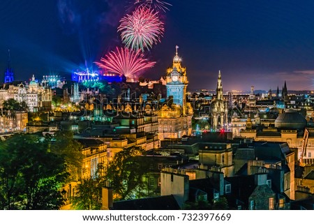 Fireworks on the City of Edinburgh In Scotland England during 'Edinburgh Military Tattoo, Military Parade taking place on the Great Edge of Edinburgh Castle #732397669